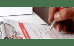 Hand filling a survey