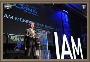 Alain Taïeb giving a speech at the 50th IAM annual meeting.