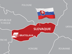 Map of Slovakia and AGS' branch in Bratislava