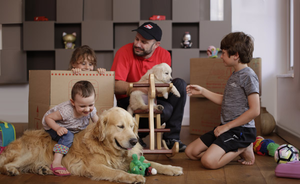 AGS mover playing with kids and dogs
