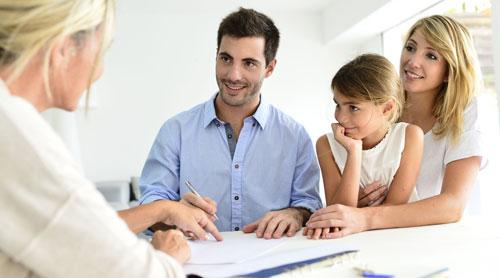 Family meeting an employee