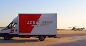 AGS moving truck in transit.
