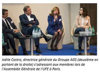 Joelle Castro speaking during the UFE meeting in Paris