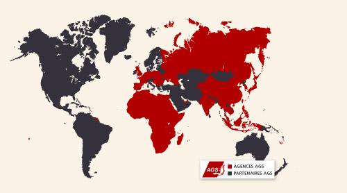 Carte du monde du réseau d'AGS