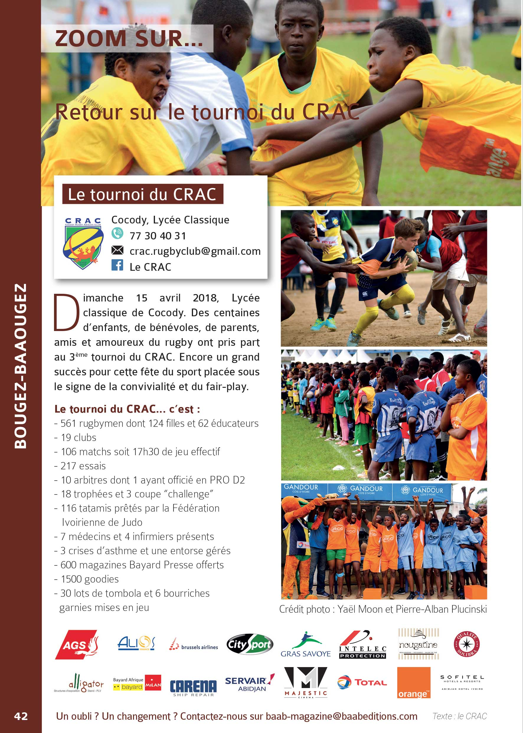 French article about a rugby tournament organized by the Cocody Rugby Abidjan Club.